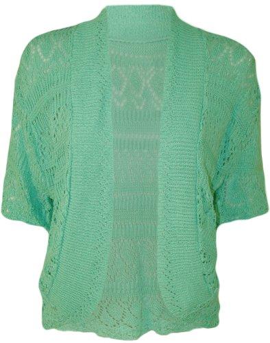 WearAll - Boléro Cardigan Ouvert Tricoté Crochet à Manches Courtes - Hauts - Femme - Grandes Tailles 44-48 Menthe