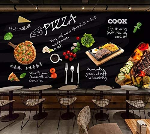 Minyose Customized 3d wallpaper mural Black hand painted pizza shop western restaurant background wall 3d wallpaper-400cmx280cm Red Brick Pizza