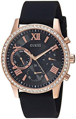 Guess orologio al quarzo in acciaio INOX e silicone casual da donna, colore: Nero, modello: U1135L4)