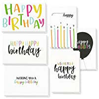 Best Paper Greetings 48 Pack Happy Birthday Note Cards Greeting Cards, 6 Handwritten Modern Style Colorful Designs, Bulk Box Set Variety Assortment, Envelopes Included 4 X 6 Inches
