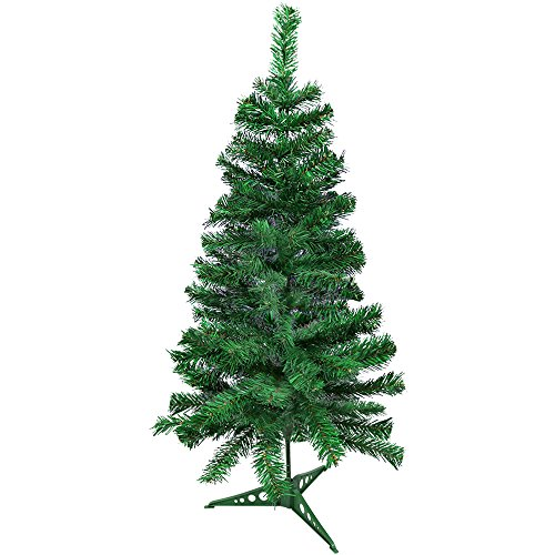 COM-FOUR® künstlicher Weihnachtsbaum in grün mit Ständer, 90 cm, Ø 47 cm, 100 Spitzen, Tannenbaum für Weihnachten als perfekte Dekoration (01 Stück - 090cm)