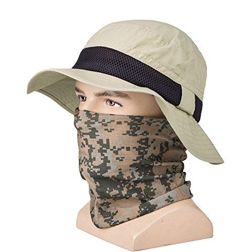 Chapeau Chapeau d'été, Chapeau de Soleil Hommes imperméable à la poussière Protection Solaire lumière légère respirabilité extérieure, 2 Couleurs en Option (Couleur : Kaki, Taille : 63cm)