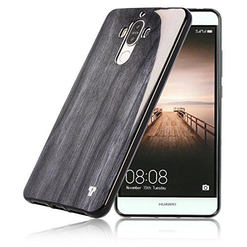 PULSARplus® Hülle für Huawei Mate 9 Silikon schwarz Huawei Mate 9 Schutzhülle Case dünne Handyhülle Holz Black Wood Design Cover für Huawei Mate 9