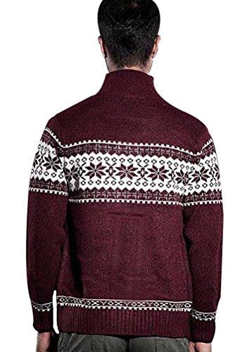 MatchLife Herren Drucken Pullover Button Down Mantel Style2-Rot