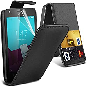 LG G4 - Porte-monnaie en cuir PU Premium Flip Wallet Housse pour téléphone mobile avec embouts pour cartes Fermeture magnétique avec protecteur d'écran LCD gratuit Guard + chiffon de polissage (Noir)