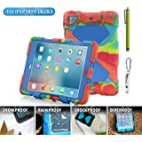 IPad Mini Case, Aceguarder New Hot [Kickstand ] Rugged Shock Proof Kids Proof Case Cover With Stand And Screen Protector For Apple IPad Mini / Mini 2 / Mini 3 (Gifts Outdoor Carabiner + Whistle + Handwritten Touch Pen)(ICE/BLUE)