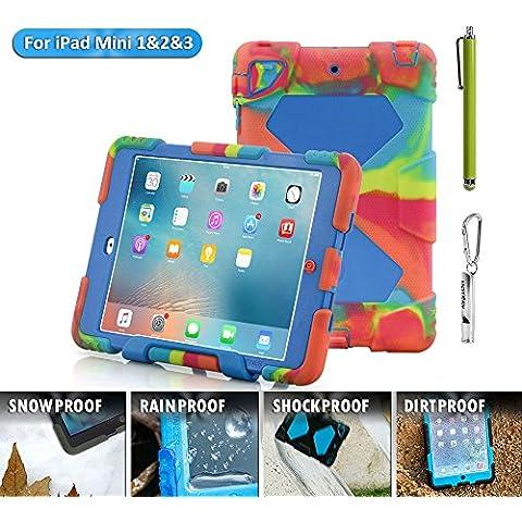 iPad Mini Funda, acegua rder® para niños, antigolpes, impermeable Series para iPad Mini 3/2/1Camo con soporte (Negro), Eis Blau, iPad Mini Hülle