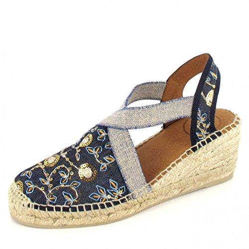Toni Pons Keilsandalette Terra-or Größe 38, Farbe: Jeans/Floral (Denim Floral Jeans)