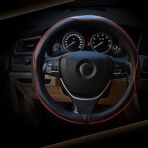 xiaoya Auto Lenkradbezug Hohe Qualität Rindsleder Universal Fit 38cm, blackandred