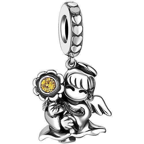 Soufeel Angel Engel der Gesundheit Charm Bead Anhänger für Kette Amrband Armreif 925 Sterling Silber mit Swarovski Kristall