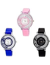 Lala's Enterprise Analogue Diamond Watch For Ladies (Blue, Black & Pink) …