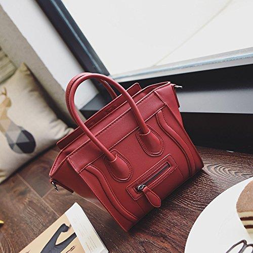 Color clash fait face à face embarrassante épaule sac Messenger Bag Red