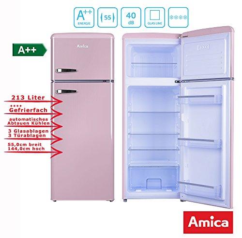 Amica Retro Kühl-/Gefrierkombination Pink KGC 15636 P A++ 213 Liter mit **** Gefrierfach Cupcake Pink