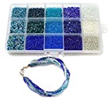 Beadsnfashion Seed Beads ice Blue Collection DIY kit for Jewellery Making, Beading, Arts and Crafts and Embroidery (15 Colors) (Size:11/0-2.0 mm) Amazon