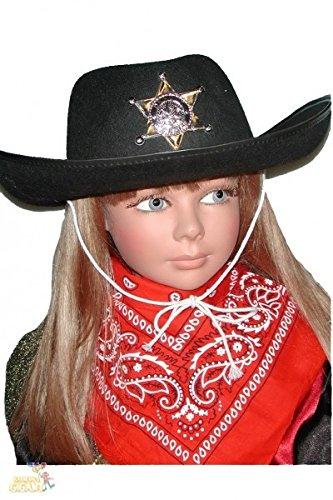 NEU Hut Cowboyhut für Kinder, schwarz mit (Hut Schwarzer Sheriff Stern Mit)