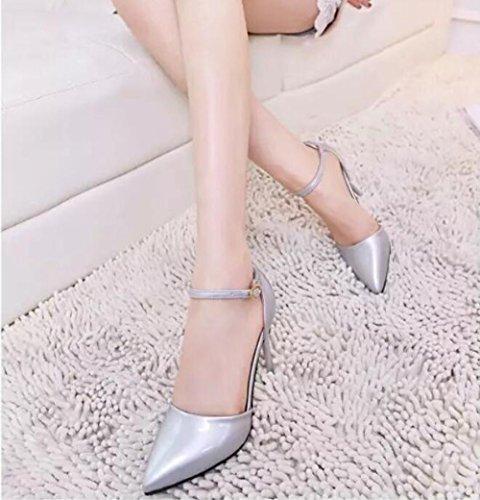 khskx-spring New cashmere pelli con fibbie argento tacchi alti Single scarpe e professionale da donna scarpe, Thirty-five Thirty-six