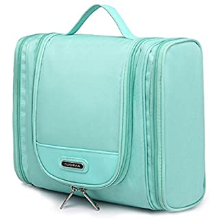 Hanging Toiletry Bag Portable Travel Camping Organizer Waterproof Cosmetic Makeup Shaving Bag Toiletry Kit for Men & Women with Sturdy Hook (Turquoise)