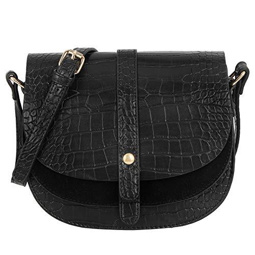 CRAZYCHIC - Damen Kleine Umhängetasche Krokodil PU Leder - Kroko Muster Satteltasche - Schultertasche Messenger Crossbody Bag - Elegante Abendtasche - Frauen Gesteppte Tasche - Schwarz