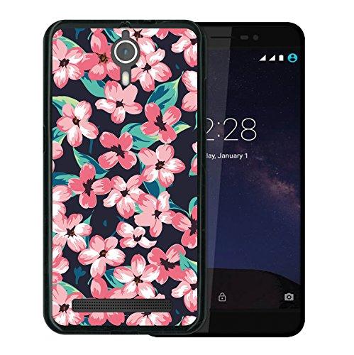 WoowCase Coolpad Porto S Hülle, Handyhülle Silikon für [ Coolpad Porto S ] Vintage Blumen Handytasche Handy Cover Case Schutzhülle Flexible TPU - Schwarz