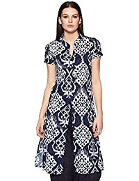Indi lite Women Blue & White Printed Cotton Short Sleeve Knee Length Straight Kurta with Two Side Slit and a fornt Slit