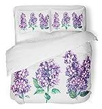 Ensemble de housse de couette 3 pièces en tissu microfibre brossé respirant fleurs abstraites bleues lilac botanique sur aquarelle vert romantique violette literie florale violet ensemble avec 2 taies