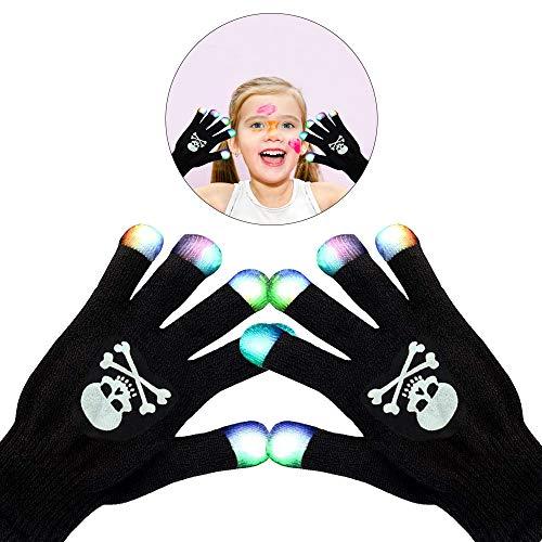 (WISHBB LED blinkende Handschuhe, Jungen-Geschenke, LED Bunte blinkende Finger-Beleuchtungs-Rave-Handschuhe kühle Spielwaren für jugendlich Jungen-Mädchen (Skelett))