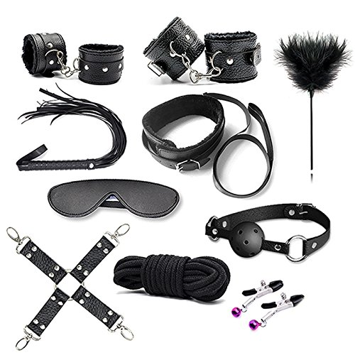 10 Stück / BDSM Set Erotik Spielzeug für Erwachsene Spiele Bondage Handschellen Nippel Klemmen Peitsche Sex Spielzeug - 2