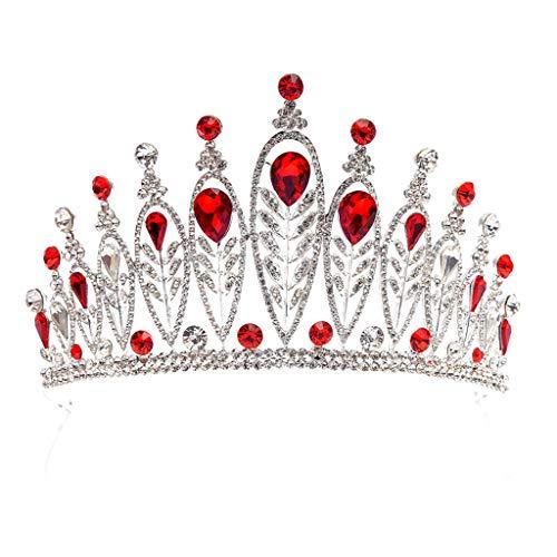 Qiuxiaoaa Hochzeit Krone, Braut Krone Hochzeit Tiara Brautschmuck Frauen Kopfschmuck Wassertropfen Stein Luxus, (Rot)