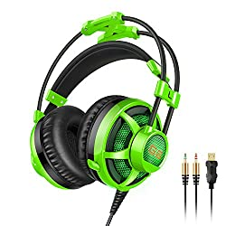 Honstek G6 Stereo 3.5 mm LED Gaming Headset Headphones with Microphone for PC Gaming and Music green