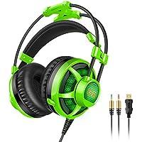 Honstek G6 Stereo Gaming Headset, 3.5mm LED cuffie over-ear con microfono per PC del gioco e musica