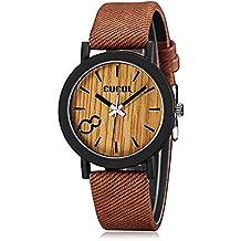 CUCOL in legno Eco Dail orologi da polso per uomo e donna, con cinturino in pelle, stile Casual, colore marrone