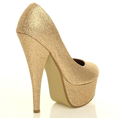 Sapatos Único Alto Patamar Brilho Bombas Ouro Clássico Trabalho Sapatos De Partido Do Tamanho Do Salto Senhoras Do De xY006En