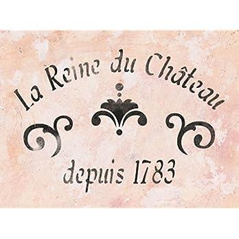Shabby Chic Schablone mit französischer vintage Schrift