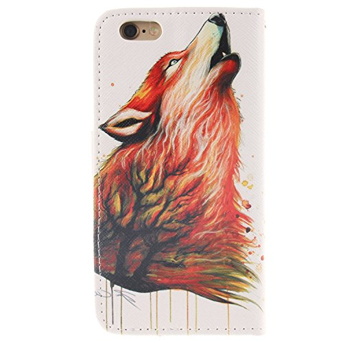 iPhone 6S Plus Hülle,iPhone 6 Plus Hülle, iPhone 6 Plus/ 6S Plus Hülle Ledertasche Brieftasche handyhülle im BookStyle, SainCat PU Leder Wallet Case Folio Schutzhülle Gemalt Muster Hülle Bumper Handyt Farbe Wolf