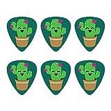 Niedliche Kaktus im Topf mit rosa Blumen NEUHEIT Gitarre Plektrum Plektron Picks Stärke Medium–Set of 6