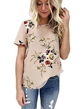 ❤️ Camiseta Mujeres Señoras Sexy con Estampado Floral Casual Blusa con Mangas Cortas Absolute