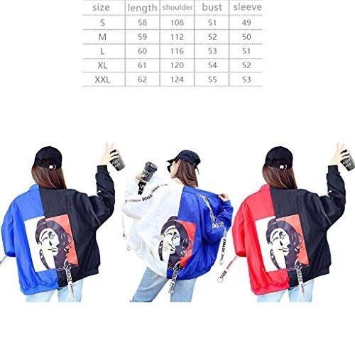 Femme Couture Couleurs Baseball Vestes Clown Baseball Uniforme Protection Solaire Manteaux courts Black