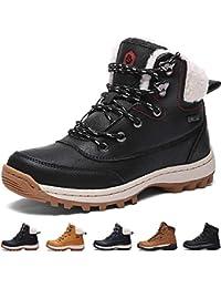 Bottes Homme Neige Hiver Antidérapant Chaussures de Chaudes Fourrees Mode  Bottine Femmes en Simili Cuir Boots 13acc17a4377