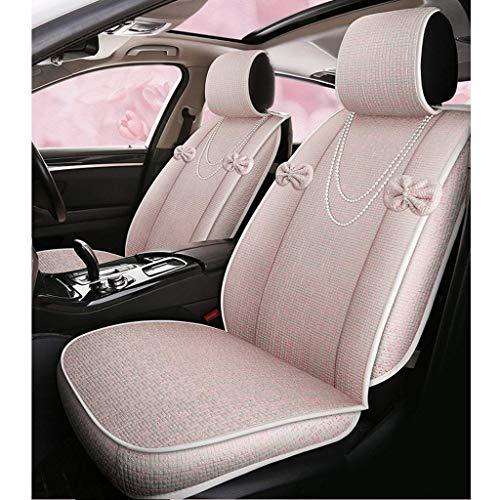 GDLQ Coprisedili for auto Sedili anteriori e posteriori femminili Set da 5 posti Protezioni dei sedili for airbag compatibili con il pad quattro stagioni in pelle di lino universale (Color : Pink-A)
