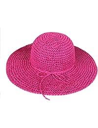 TININNA Sombrero de Vestir para Mujer,Bohemia Verano Sun Floppy Sombrero de la Playa de la Paja del Borde Grande Ancho Cap resiste UV Gorro-Rosa Caliente