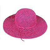 TININNA Sombrero de vestir para mujer,Bohemia Verano Sun Floppy Sombrero de la playa de la paja del borde grande ancho Cap resiste UV Gorro-Rosa calie