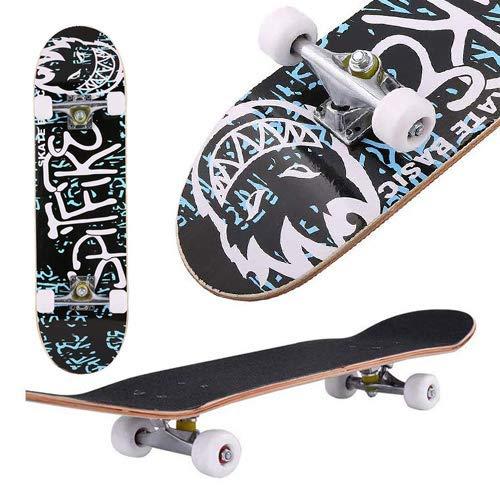 fiugsed Skateboard Komplettboard Mit ABEC-9 Kugellager Und 9-Lagigem Ahornholz 95A Rollenhärte Funboard FÜR Anfänger Und Profis - Belastung 100 KG (Schwiegersohn)