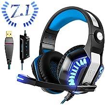 USB Gaming Headset für PC PS4, Beexcellent Virtual 7.1 Surround Sound Deep Bass LED Licht Professional Kopfhörer mit Mikrofon