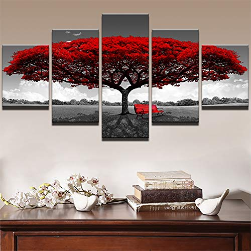Modulare Leinwand HD Drucke Poster Wohnkultur Wandkunst Bilder 5 Stücke Roter Baum Kunst Landschaft Landschaftsbilder Rahmen,A,30×40×2+30×60×2+30×80×1 - Impressionen Leinwand Kunst