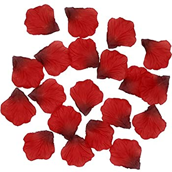 Ldoux 2000pcs Diy Fake Silk Rose Petals Confetti For Proposal Wedding Bed Decorations, Dark Red 3