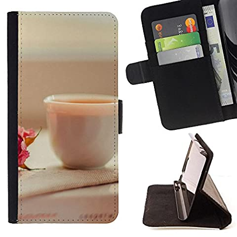 ICE CASE - FOR Motorola Moto E 2nd Generation - Candles Cup Roses - Painting Art Smile Face Style Design PU Leather Flip Stand Case Cover