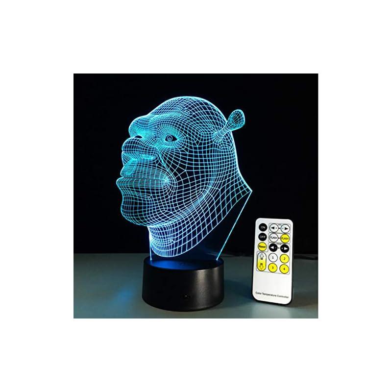 de Bebé Dormir Lámpara de Luminaria Control Decoración con Sensor Luz Luz Remoto Cabrito Humor Visual Nocturna Lampada Lámpara Shrek Led Como de 3D xhQdBtsrC