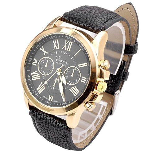 Relojes Pulsera Mujer,Xinan Cuarzo Romana Cuero de Imitación Relojes Regalo (Negro)