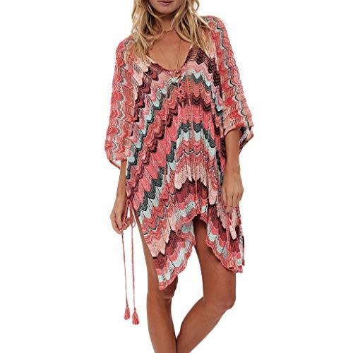 Strandponcho Sommer Überwurf Strandkleid Bikini Cover Up Boho Sommerkleid Blusenkleider Gestrickte Durchbrochene Bluse Beach Holiday Beachwear Strickkleider ()