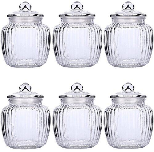 STAR-LINE® 6 Vorratsdosen Große Bonboniere Geriffelt Glas Bonbonglas ca.950 ml | Vorratsglas Vorratsbehälter für Aufbewahrung von Zutaten & Gewürzen